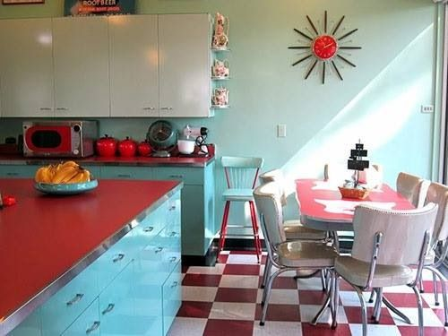 Red and Aqua Kitchen