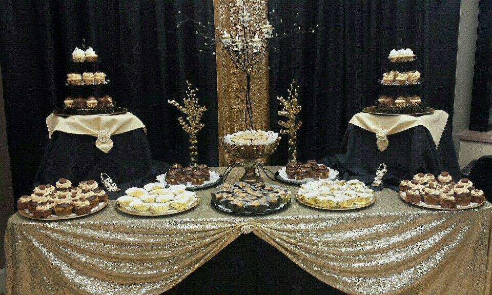 Black And Gold Dessert Table Black And Gold Cake Gold Dessert