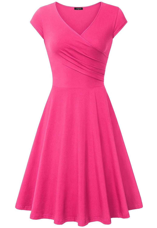 AmazonSmile: Laksmi Women\'s Elegant V Neck Shirred Retro Vintage ...