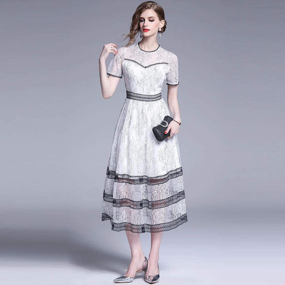 3901ba782d Women Summer Lace Long Dress New Fashion England Style Big Swing A ...