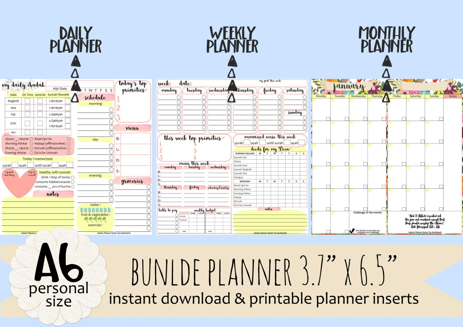 Islamic Daily Weekly Monthly Planners By Kecilmamil Perencanaan