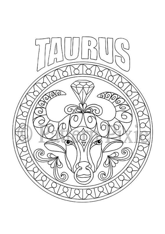 Adult Coloring Page Zodiac Taurus is part of Adult coloring page - This Zodiac design for Taurus is going to be great for adults to colour! Nice to use as gifts  especially for that someone special celebrating a birthday )  Watch this space  there will be more to come!  This item consists of one file that is instantly downloadable as a PDF or JPEG at high