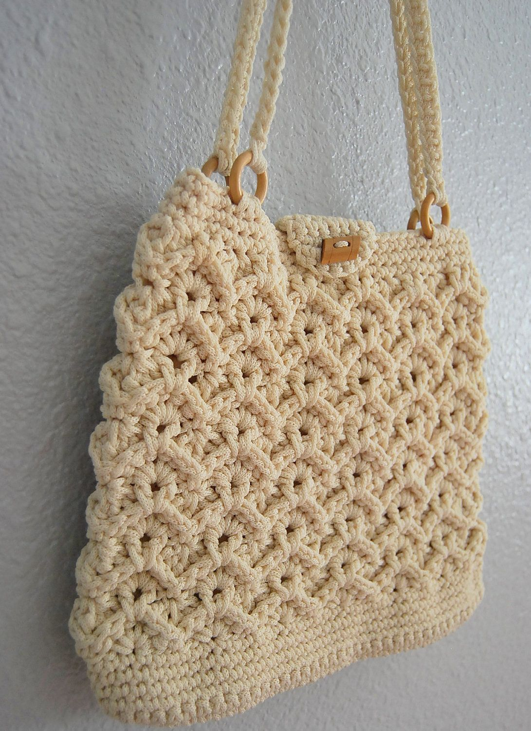 vintage MACRAME hand bag / 1970s hippie CROCHET hand bag | Pinterest ...