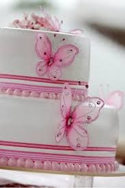 Resultado de imagen para tortas de 2 pisos con mariposas para Bautizo