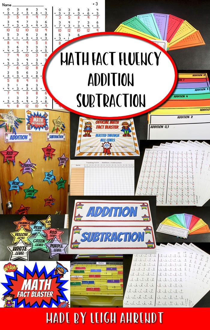 Math Fact Fluency Addition & Subtraction | Math facts, Maths and ...