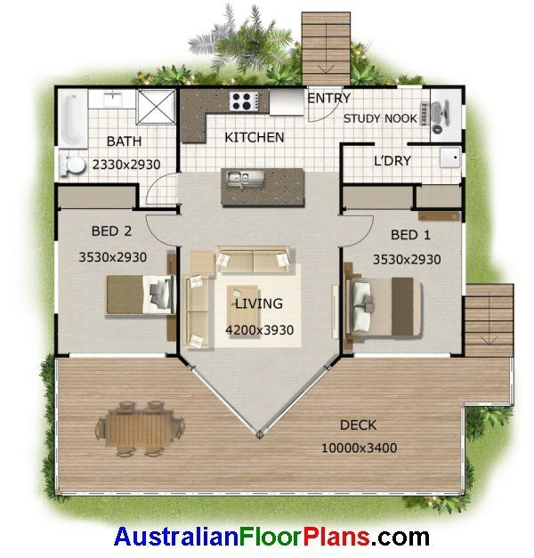2 Bedroom Plus Study Low Set Kit Home Design Small House Design Modern House Plans House Plans