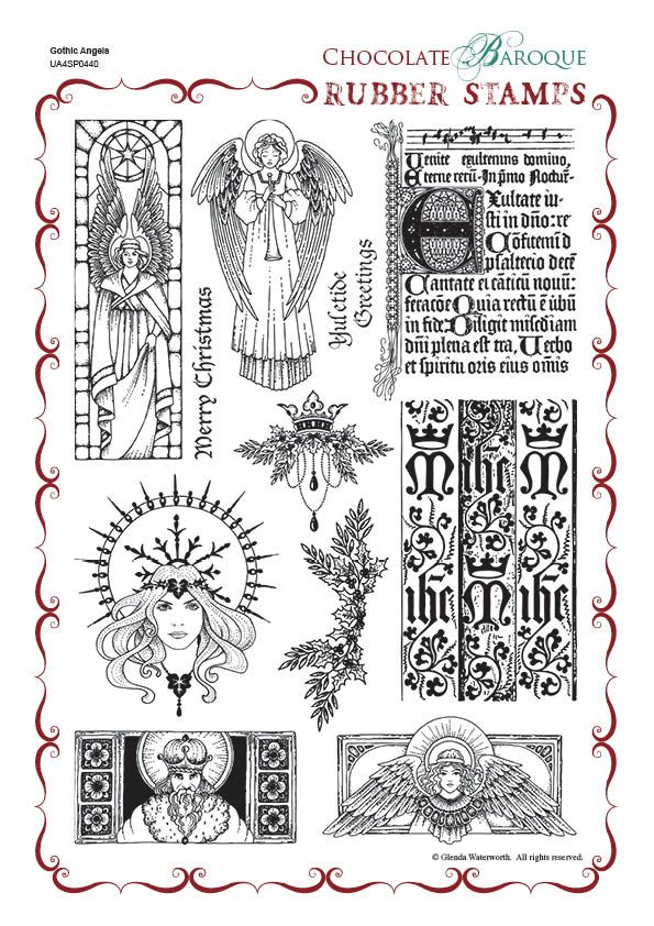 Gothic Angels Rubber Stamp Sheet