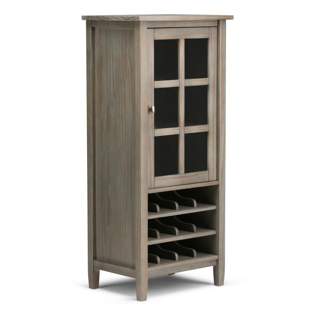 Simpli Home Warm Shaker 12 Bottle Solid Wood 23 In Wide Rustic High Storage Wine Rack In Distressed Grey Axwsh008 Gr In 2020 Wine Cabinets Wine Storage Wine Rack Cabinet