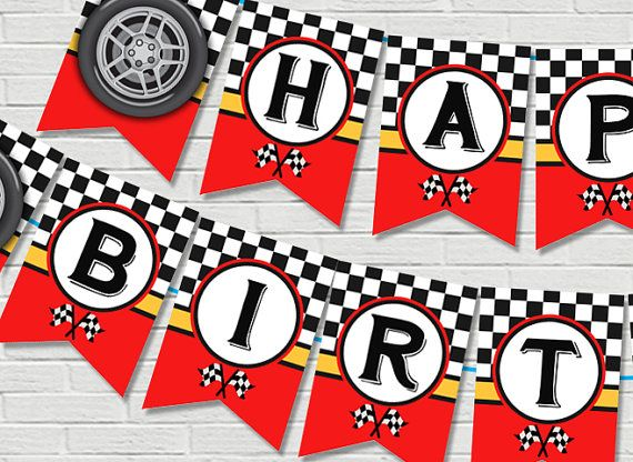 Car Racing Birthday Banner Race Car Birthday Banner