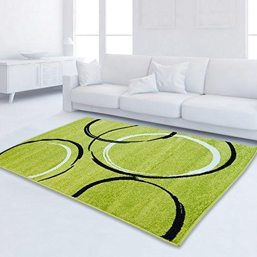 Teppich Modern Moda Öko-Tex Kreis grün schwarz creme vers   - wohnzimmer grun schwarz