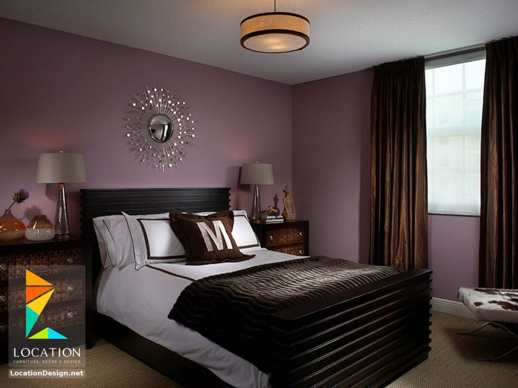 بالصور أحدث الوان دهانات غرف نوم للعرسان 2018 2019 لوكشين ديزين نت Purple Bedroom Decor Purple Bedroom Design Bedroom Paint Colors Master