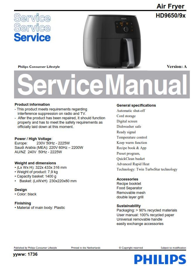 Philips Airfryer HD9650 Service Manual Free download