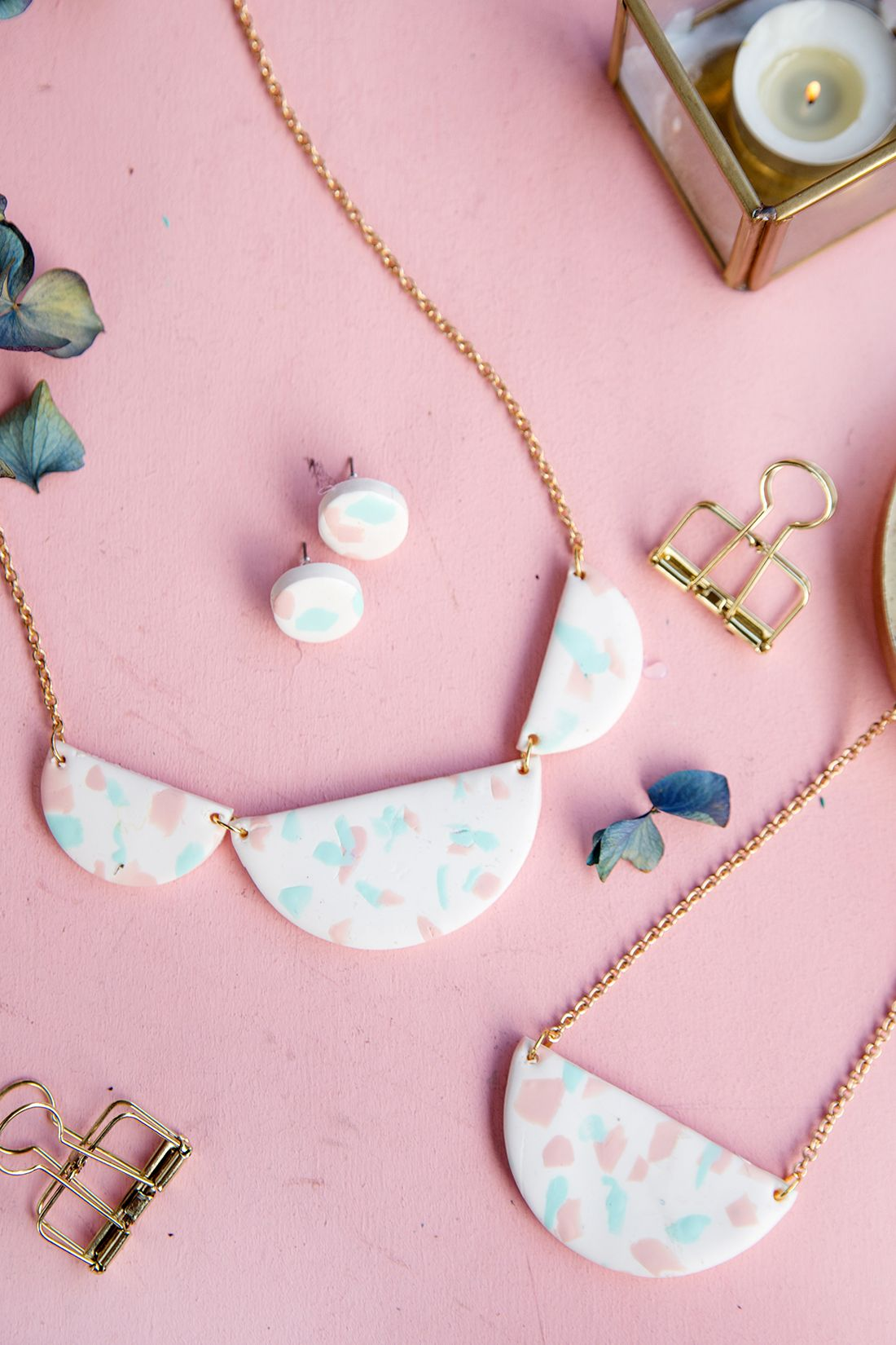 diy terrazzo-kette aus fimo selbermachen | polymer clay jewelry
