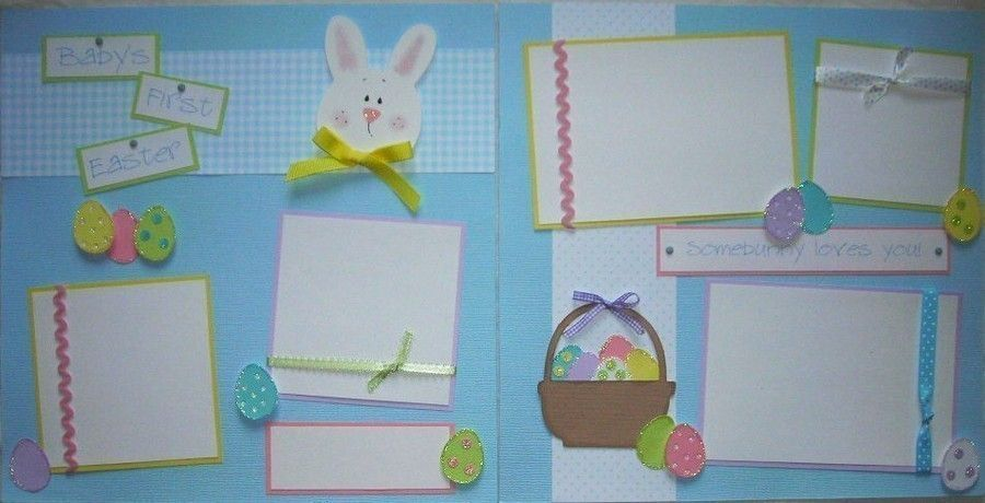 Babys first easter 12x12 premade scrapbook pages via etsy premade scrapbook pages babys first easter baby boy first year album babys first holidays year scrapbooking layout negle Gallery