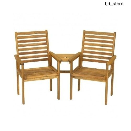 outdoor garden furniture patio set wooden table 2 chairs jack and jill love seat - Wooden Garden Furniture Love Seats