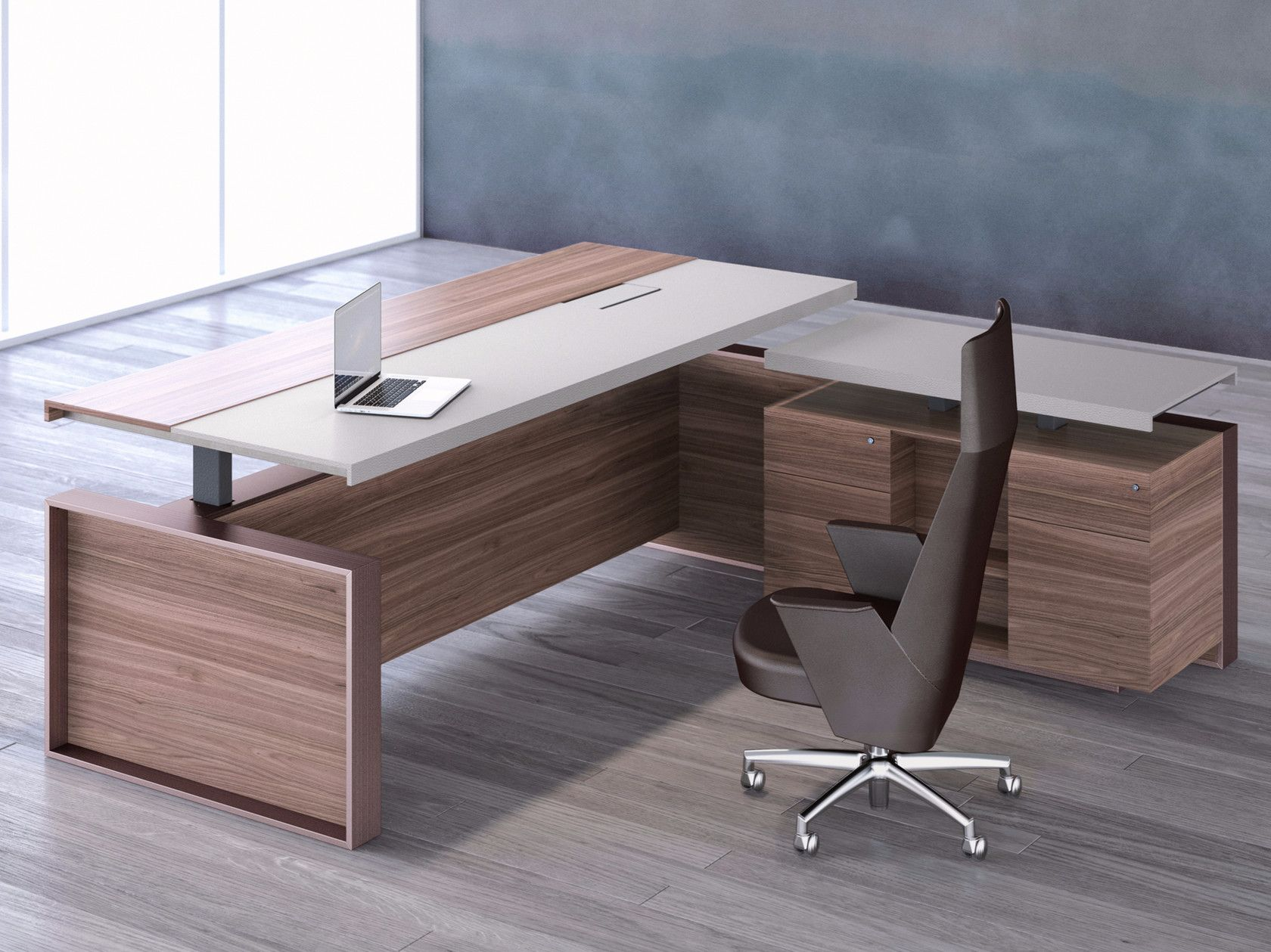 Leather And Veneer Executive Desk Altagamma L Shaped Office Desk By Estel Group Home Office Furniture Design Office Furniture Design Office Table Design