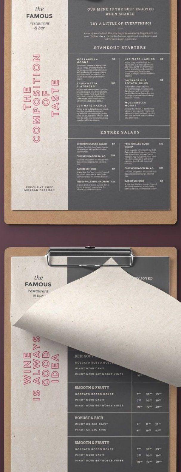 Elegant and simple restaurant menu  Trendy and easy editable menu design for your restaurant  cafe  bistro  tavern  bar or club  #restaurant #menu #design #cafe #food #drinks #template #psd #minimal #simple #elegant