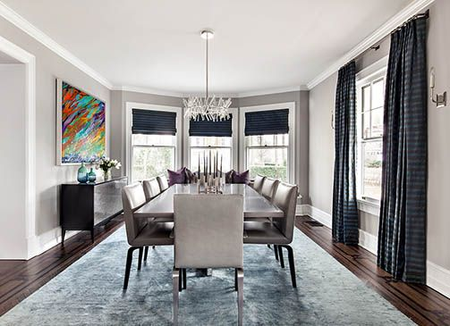 Jewel tones of teal and purple make this dining room feel sophisticated yet edgy.