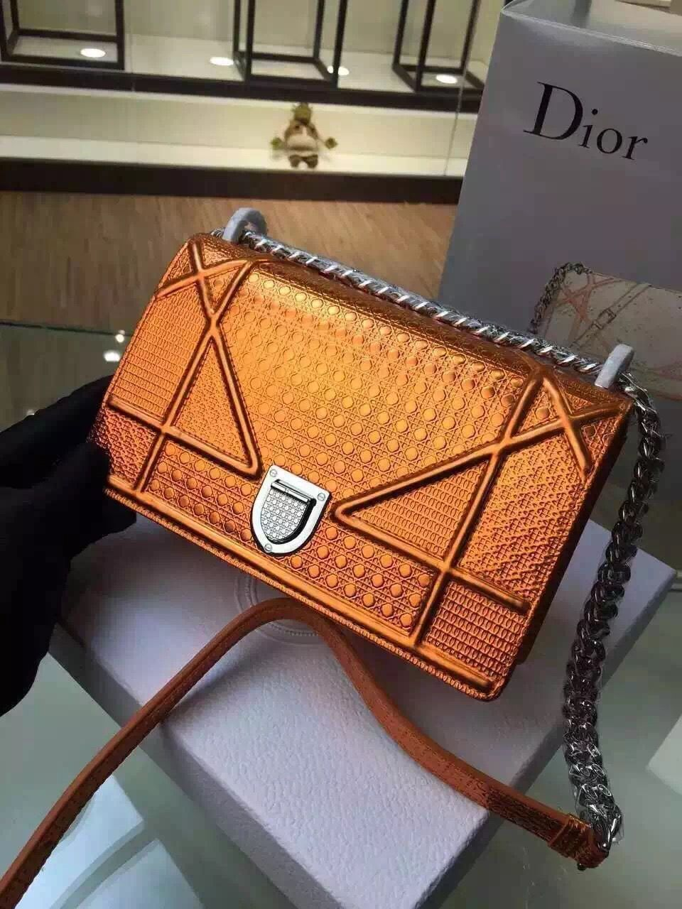 854c10b2a9db Dior Small Medium Diorama Perforated Calfskin Bag Orange 2015