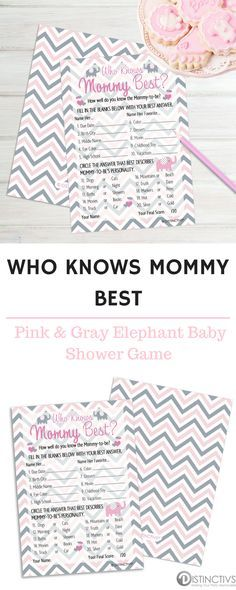 Pink Elephant Girl Who Knows Mommy Best Baby Shower Game Cards