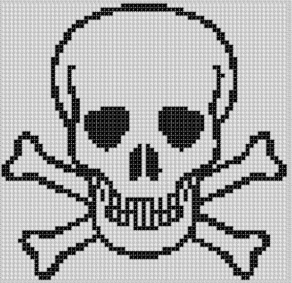 Skull and Cross Bones Cross Stitch Pattern | Patrones gratis de ...