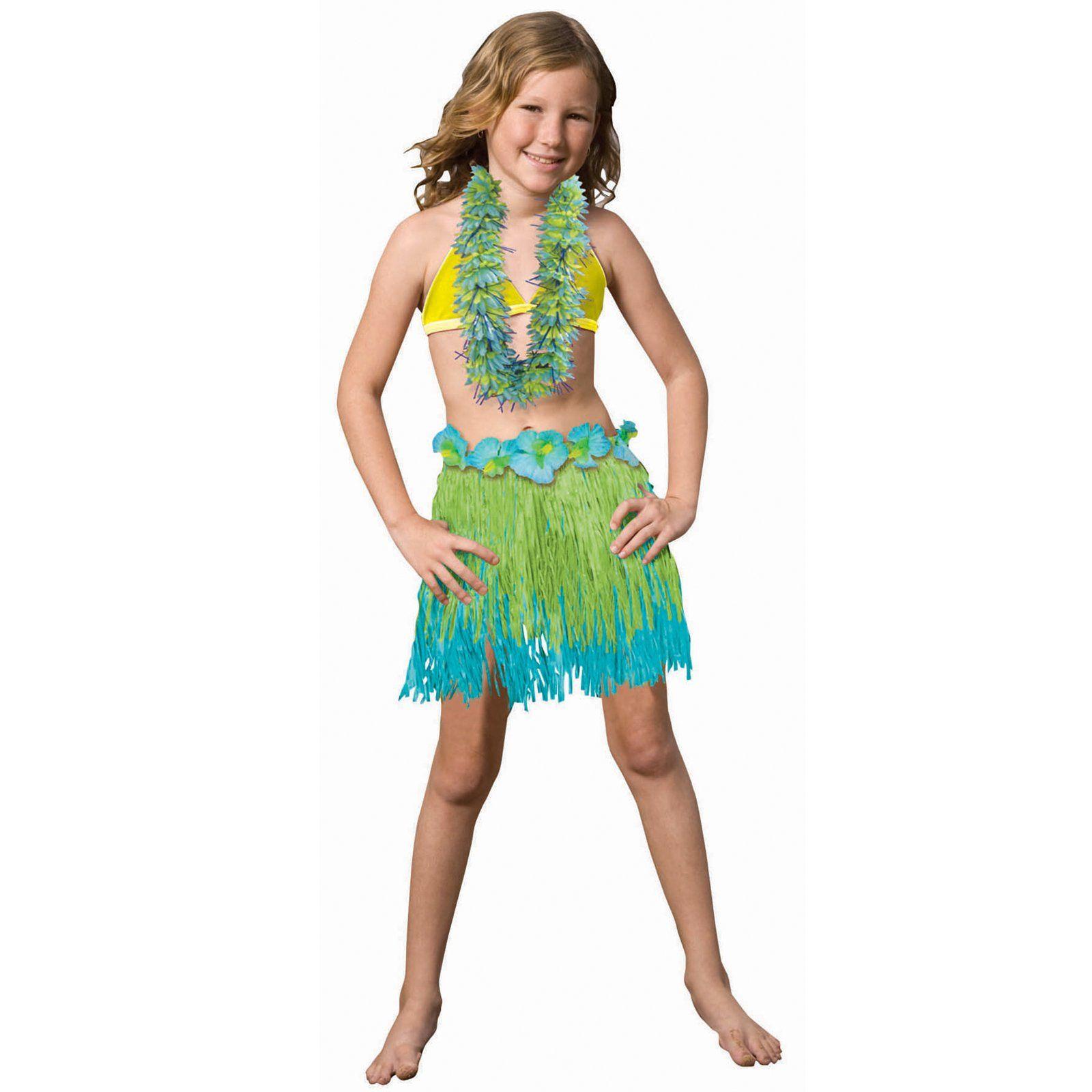 Child Two Tone Blue / Green Grass Skirt, 78584