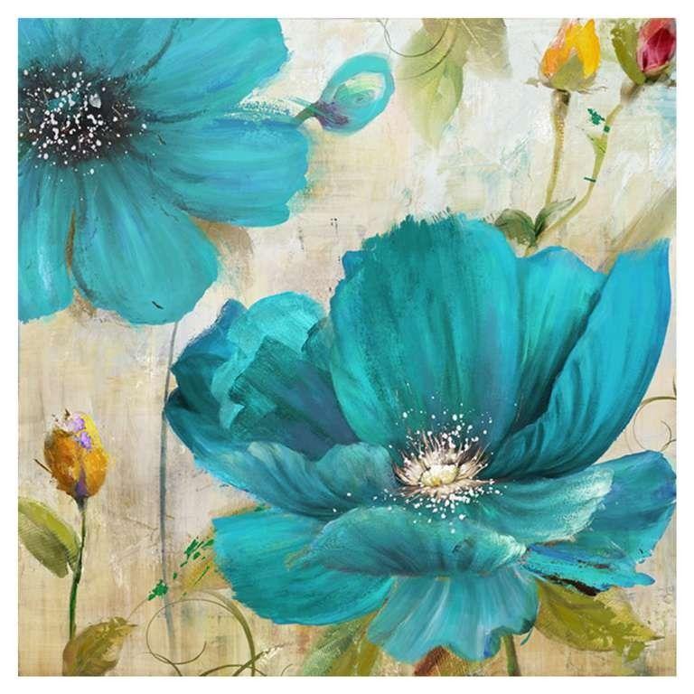 Toile En Canevas Fleurs Turquoises Peinture Fleurs