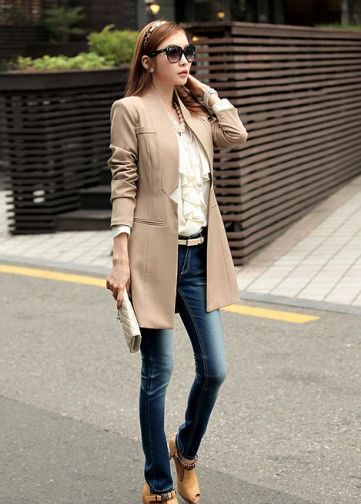 Elegant Solid No Button Women Long Blazer Jacket on BuyTrends.com ...