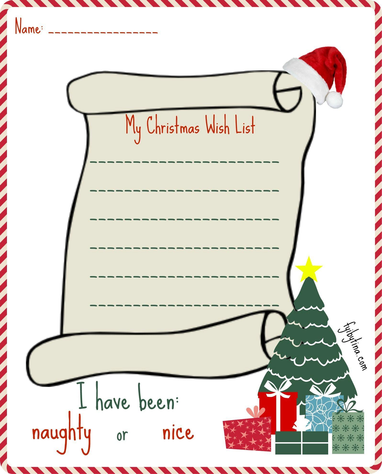 Printable My Christmas Wish List For Santa Free Christmas