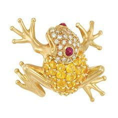 Gold, Yellow Sapphire, Diamond and Ruby Frog Pendant-Brooch, Tiffany & Co.          SOLD for $2250