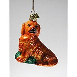 golden retriever christmas ornament kurt adler glass