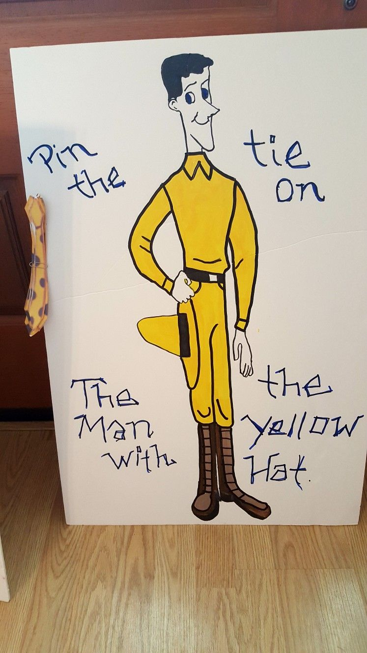 Painted Pin The Tie On The Man With The Yellow Hat Game Yellow Hat Man Party Gifts