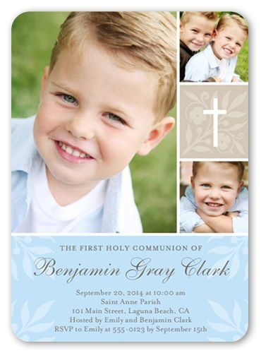 Boys Communion Invitations Floral Cross Rounded Corners Blue