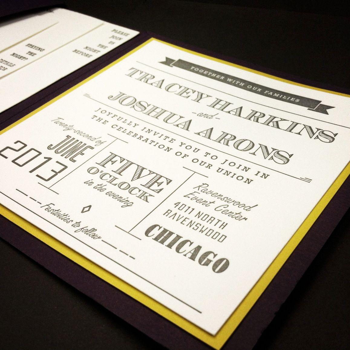 Letterpressed Wedding Invitation With Envelopment Custom Invites