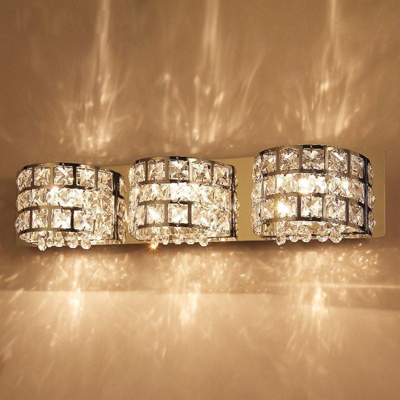 Bathroom Chandelier Sconces details about modern led crystal hanging semicircle bathroom wall