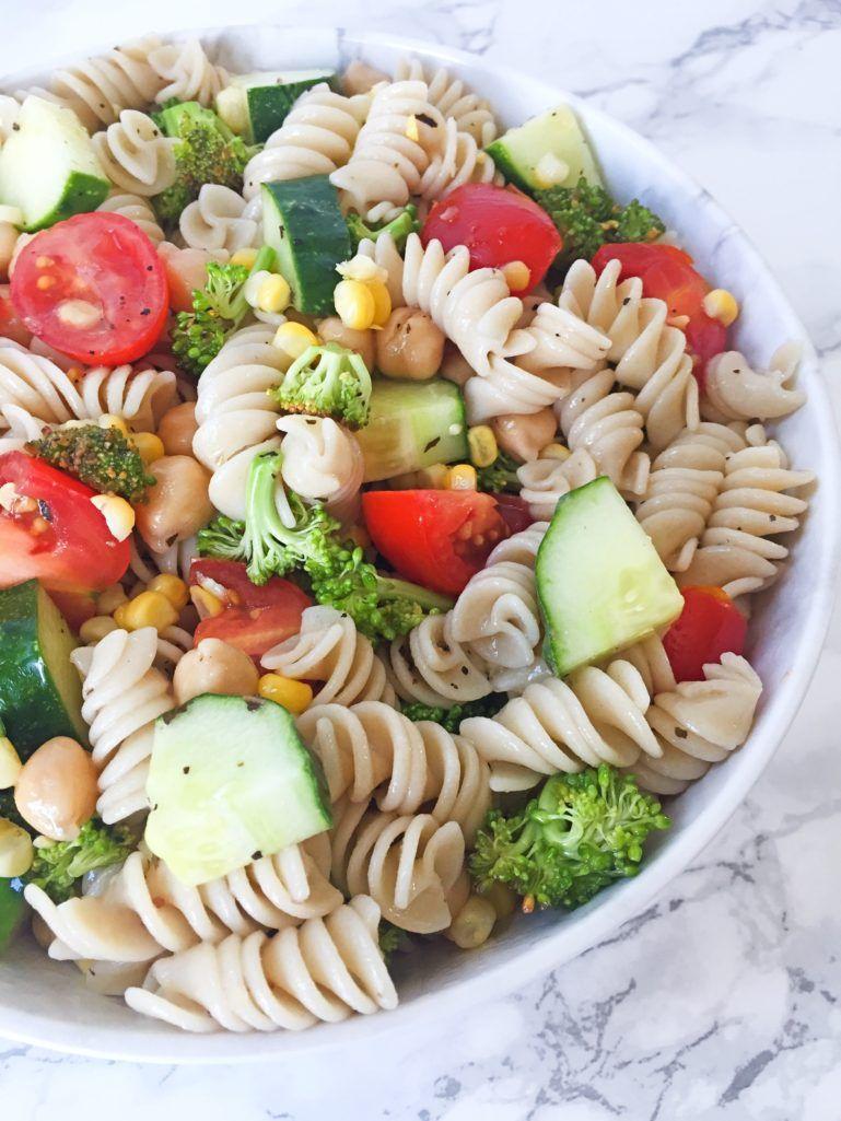 Gluten Free Pasta Salad with Chickpeas & Summer Vegetables