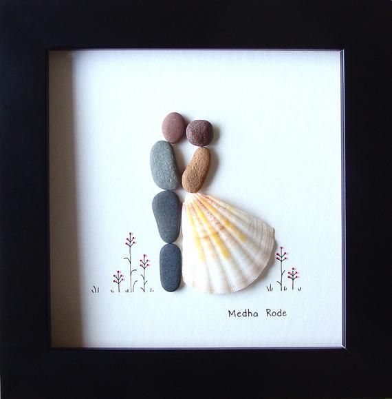 Pebble Art Wedding, 5 by 5, Wedding Gifts Idea, Bride and Groom Pebble Picture, Creative Unique Gifts, For Best Friend Sister Couples, OOAK