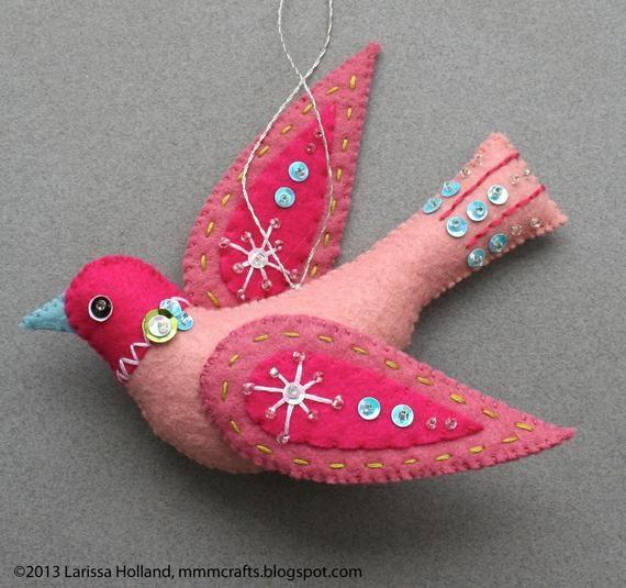 Snow Bird PDF pattern for a hand sewn wool felt ornament #feltbirds