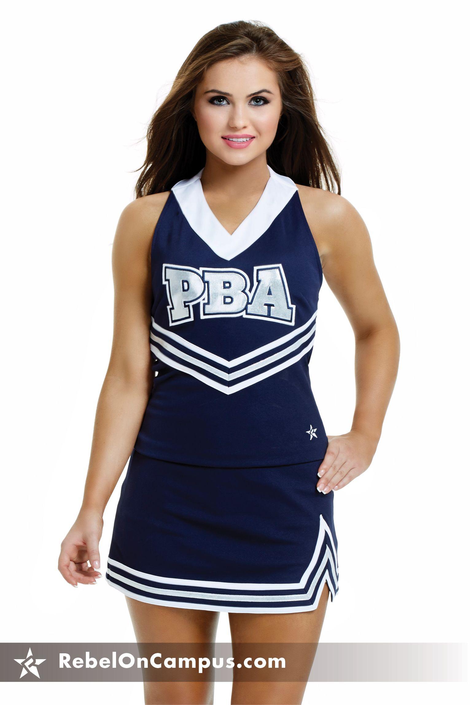 schoolgirl cheerleader flash Halter top traditional high school cheer uniform from Rebel Athletic.