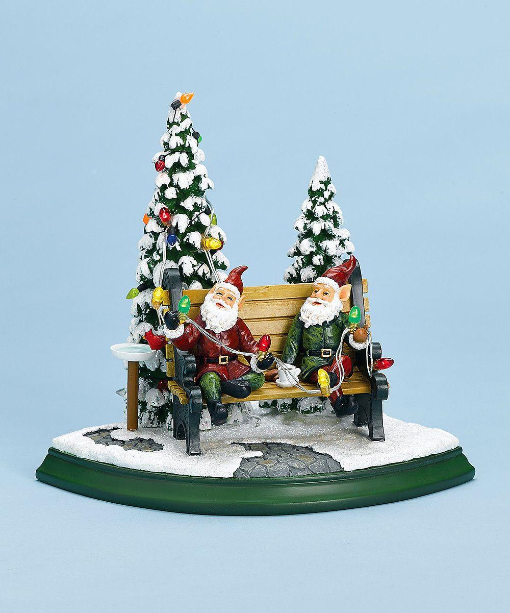 Elves on Bench Music Box Christmas music box, Christmas