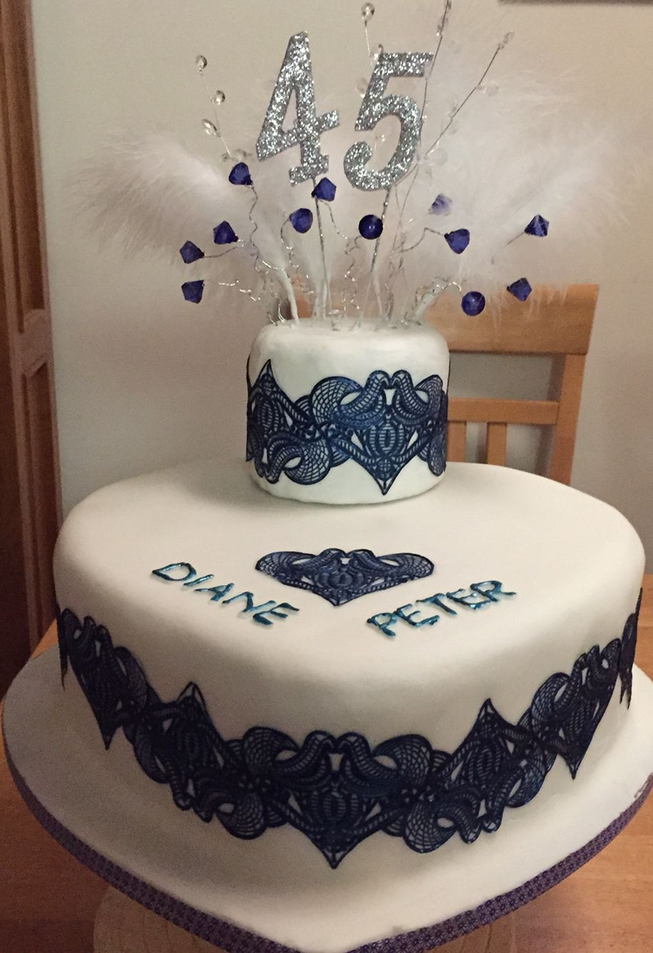 Cake For My Mum And Dads 45th Wedding Anniversary Using Lace The First