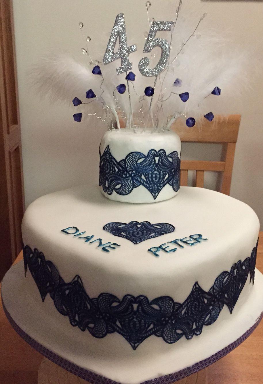 Cake for my mum and dads 45th wedding anniversary, using