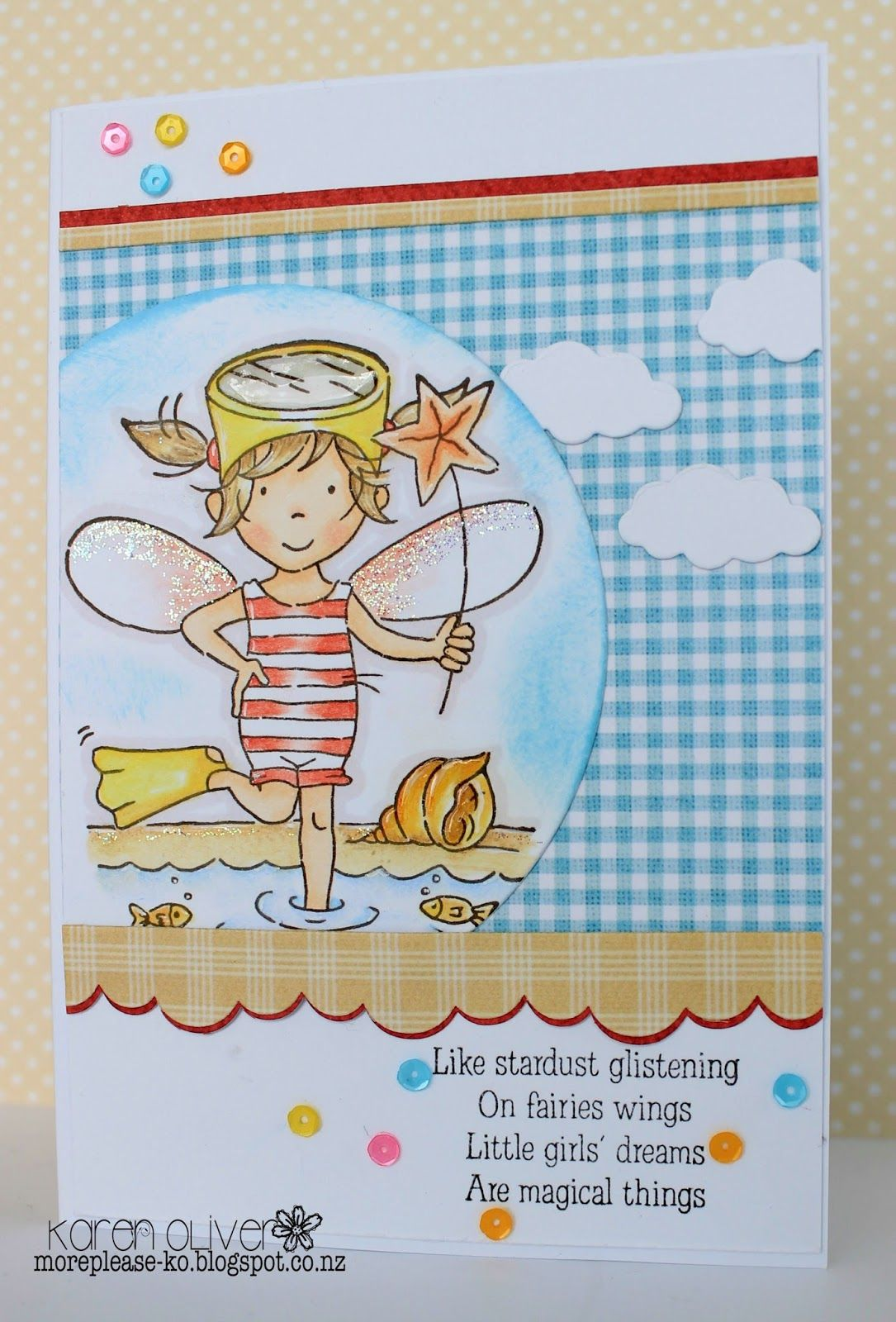 LOTV - August Fairy with Up Up and Away, Country Meadow and Sunnyside Up Paper Pads and Fairy sentiment by Karen Oliver
