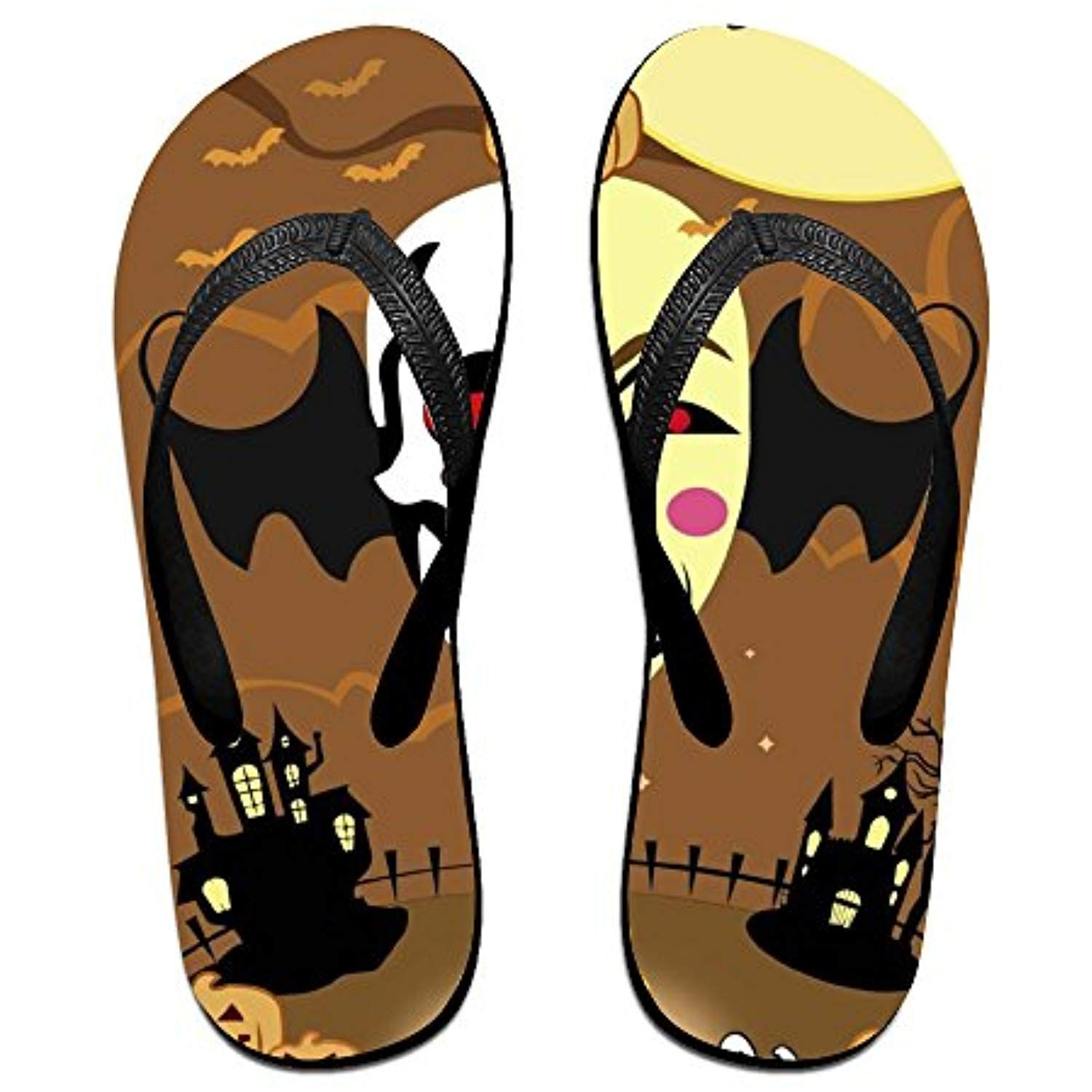Halloween pumpkin pattern flip flops Slippers for Men