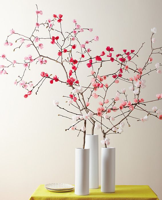 Make It Yourself A Spring Bouquet Of Paper Cherry Blossoms Paper Flowers Spring Diy Diy Flowers