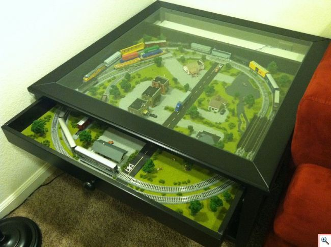 N Scale Train Set In Ikea Coffee Table Model Railroad Plans Pinterest N Scale Trains Ikea