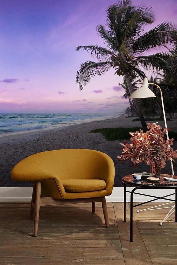 3D Purple Sky Sunset Tropical Beach Wall Mural Wallpaper