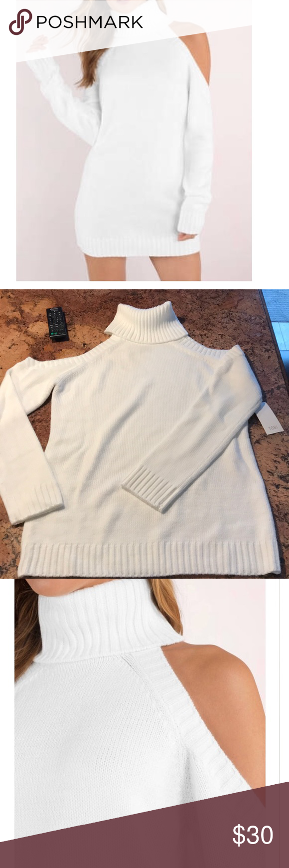 2eae70cff0b Tobi Give Love White Sweater Dress NWT. Turtle neck with cold shoulder.  Pair this sweater with tights and over the knee boots.
