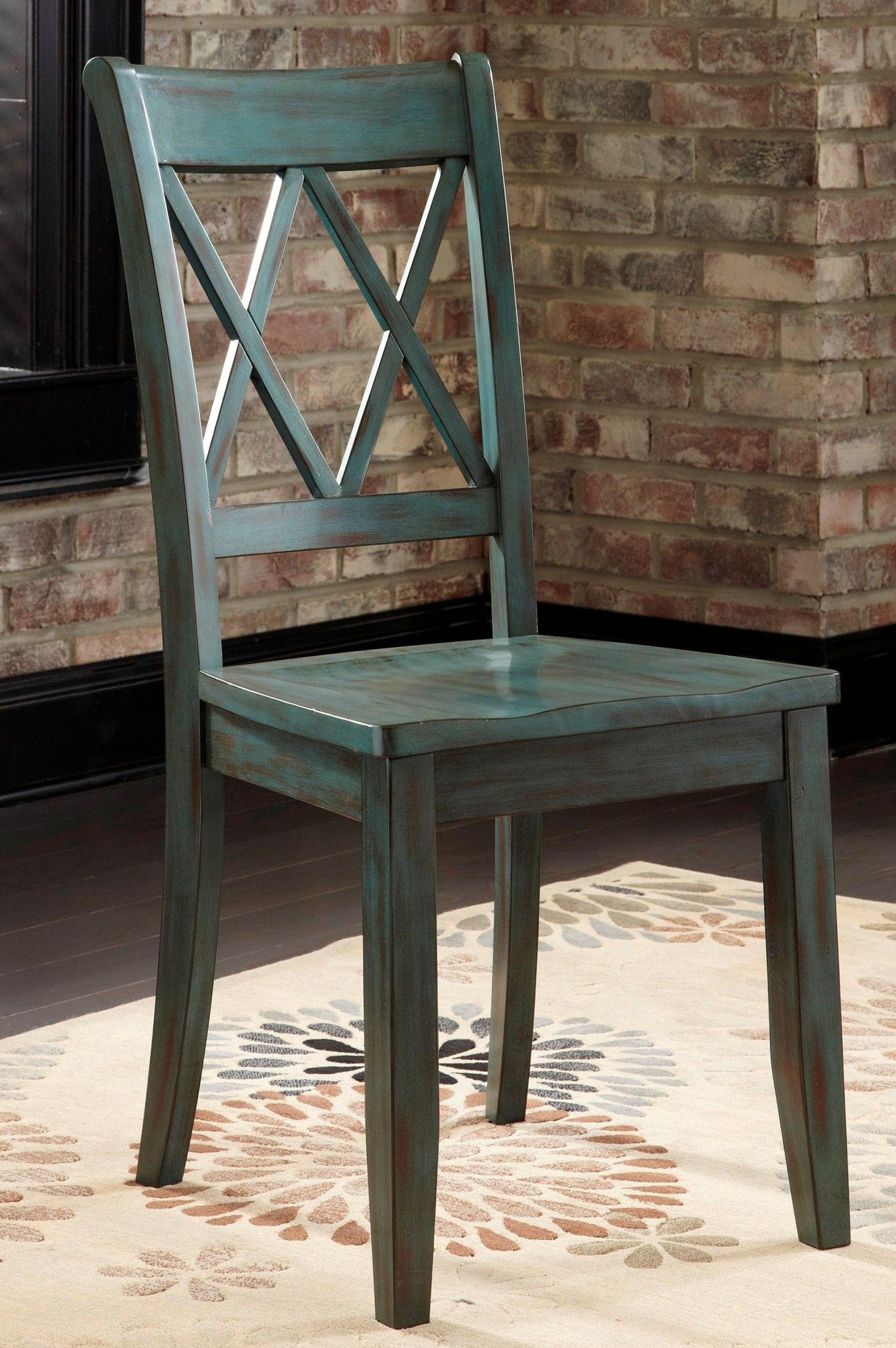 Rustic teal blue chairs kitchen ideas Pinterest