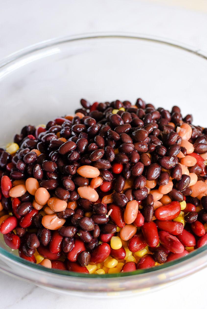 3 Bean Salad Recipe Mexican Side Dish Beansalad Bean Salad Recipes Mexican Side Dishes Healthy Snacks Recipes